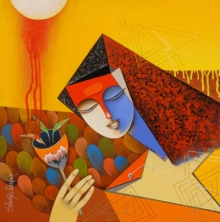 Pradip Sarkar | Acrylic Painting title Untitled on Canvas | Artist Pradip Sarkar Gallery | ArtZolo.com