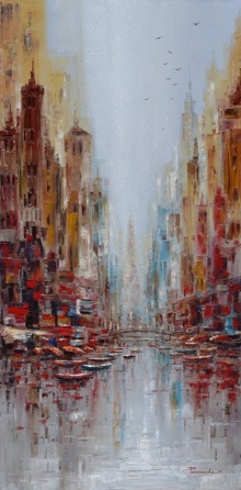 Cityscape Oil Art Painting title 'The City' by artist Purnendu Mandal