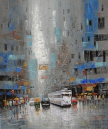 Rainy Day In Kolkata | Painting by artist Purnendu Mandal | acrylic | Canvas