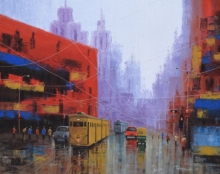 Cityscape Acrylic Art Painting title 'After Rain In Kolkata 2' by artist Purnendu Mandal
