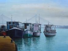 Seascape Acrylic Art Painting title 'Babu Ghat 2' by artist Purnendu Mandal