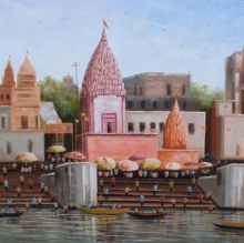 Cityscape Acrylic Art Painting title 'Banaras Ghat 1' by artist Purnendu Mandal