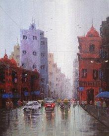 Cityscape | Painting by artist Purnendu Mandal | acrylic | Canvas
