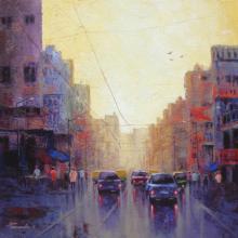 Cityscape Acrylic Art Painting title 'Cityscape III' by artist Purnendu Mandal