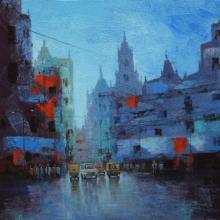 Cityscape Acrylic Art Painting title 'Cityscape VI' by artist Purnendu Mandal