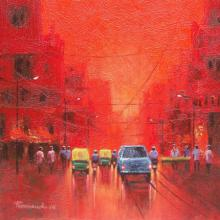 Cityscape Acrylic Art Painting title 'First Light' by artist Purnendu Mandal