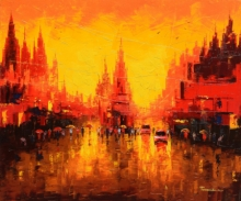 Cityscape Oil Art Painting title 'First Light 2' by artist Purnendu Mandal