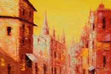 Cityscape Oil Art Painting title 'First Light 3' by artist Purnendu Mandal