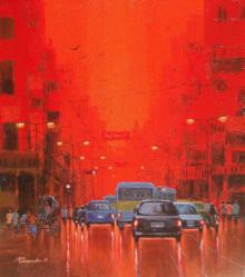 Cityscape Acrylic Art Painting title 'First Light II' by artist Purnendu Mandal