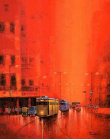 Cityscape Acrylic Art Painting title 'First Light III' by artist Purnendu Mandal