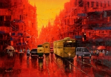 Cityscape Oil Art Painting title 'First Light In Kolkata' by artist Purnendu Mandal