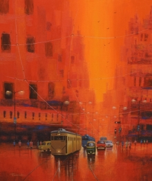 Cityscape Acrylic Art Painting title Good Morning Kolkata by artist Purnendu Mandal