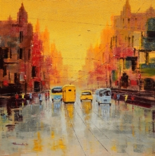 Cityscape Oil Art Painting title Good Morning Kolkata by artist Purnendu Mandal