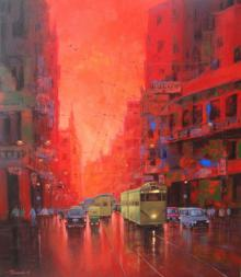 Cityscape Acrylic Art Painting title 'Good Morning Kolkata I' by artist Purnendu Mandal