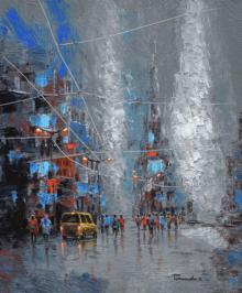 Cityscape Acrylic Art Painting title 'Grey Monsoon' by artist Purnendu Mandal