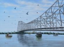 Cityscape Acrylic Art Painting title 'Howrah Bridge' by artist Purnendu Mandal
