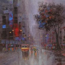 Cityscape Acrylic Art Painting title 'Monsoon Shower' by artist Purnendu Mandal