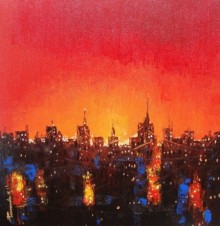 Cityscape Acrylic Art Painting title 'Night In City' by artist Purnendu Mandal