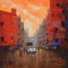 Cityscape Acrylic Art Painting title 'Orange Sky' by artist Purnendu Mandal
