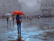 Cityscape Acrylic Art Painting title 'Rainy Day' by artist Purnendu Mandal