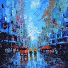 Cityscape Acrylic Art Painting title 'Rainy Street' by artist Purnendu Mandal