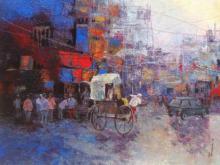 Cityscape Acrylic Art Painting title 'Rickshaw Puller In Kolkata II' by artist Purnendu Mandal