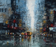 Cityscape Oil Art Painting title 'The City Of Joy' by artist Purnendu Mandal