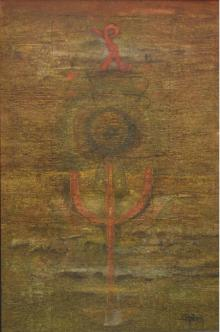 The Trishul Abstract I | Painting by artist Ramesh Thorat | mixed-media | Canvas