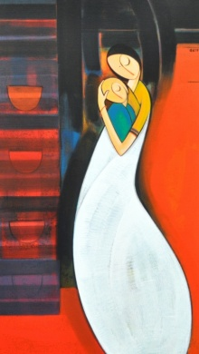 Loving Mother | Painting by artist Dattatraya Thombare | acrylic | Canvas