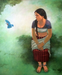 Figurative Acrylic Art Painting title 'Moments' by artist Mousumi Pal Majumdar