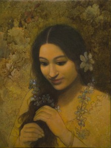 Figurative Acrylic Art Painting title Pondering by artist Mousumi Pal Majumdar