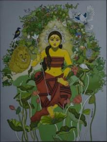 Figurative Acrylic Art Painting title Durga with nature by artist Mousumi Pal Majumdar