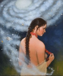Figurative Acrylic Art Painting title 'Source of creation 2' by artist Mousumi Pal Majumdar
