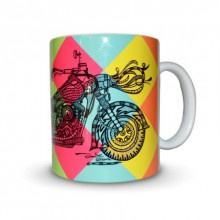Sejal M | Bike Print Mug Craft Craft by artist Sejal M | Indian Handicraft | ArtZolo.com