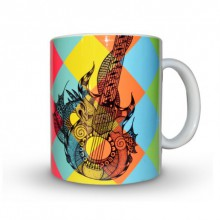Guitar Print Mug | Craft by artist Sejal M | Ceramic