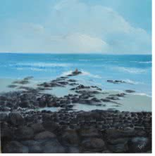 Landscape Oil Art Painting title Rocky Beach by artist Persis Chhapkhanawalla