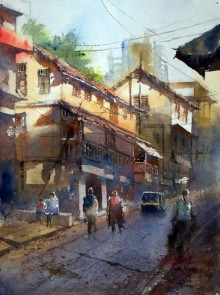 Cityscape Watercolor Art Painting title 'Morning at Thane' by artist Sanjay Dhawale