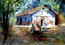 Landscape Watercolor Art Painting title 'House at Pali' by artist Sanjay Dhawale