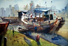 Sanjay Dhawale | Watercolor Painting title Boat at Retibandar on Handmade Paper | Artist Sanjay Dhawale Gallery | ArtZolo.com