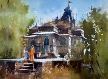 Cityscape Watercolor Art Painting title 'Old Temple' by artist Sanjay Dhawale