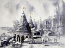 Landscape Watercolor Art Painting title 'Banaras Ghat' by artist Sanjay Dhawale