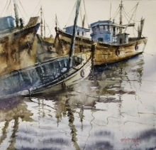 Landscape Watercolor Art Painting title 'Boat' by artist Sanjay Dhawale