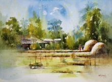Landscape Watercolor Art Painting title 'Countryside India' by artist Sanjay Dhawale
