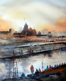 Landscape Watercolor Art Painting title 'Godavari Ghat' by artist Sanjay Dhawale