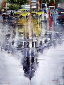Cityscape Watercolor Art Painting title 'Reflection' by artist Sanjay Dhawale