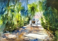 Landscape Watercolor Art Painting title 'Morning Beauty' by artist Sanjay Dhawale