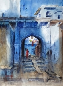 Landscape Watercolor Art Painting title 'Jodhpur' by artist Sanjay Dhawale