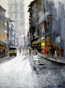 Landscape Watercolor Art Painting title 'Mumbai Street' by artist Sanjay Dhawale