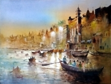 Landscape Watercolor Art Painting title 'Night At Banaras' by artist Sanjay Dhawale