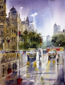 Landscape Watercolor Art Painting title 'Rainy Mumbai' by artist Sanjay Dhawale